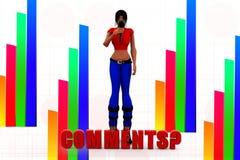 kommentarillustration för kvinnor 3d Arkivfoto
