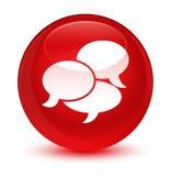 Kommentiert glasiger roter runder Knopf der Ikone Lizenzfreie Stockfotos