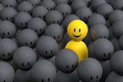 kommer den gula mannen 3d ut från en grå folkmassa Royaltyfria Foton