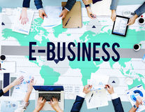 Kommers Conce för marknadsföring för E-affär online-nätverkandeteknologi Arkivbilder