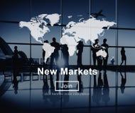Kommers för nya marknader som säljer marknadsföringsbegrepp för global affär Royaltyfri Foto