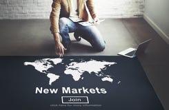 Kommers för nya marknader som säljer marknadsföringsbegrepp för global affär Fotografering för Bildbyråer