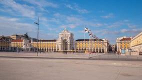 Kommersfyrkant i i stadens centrum Lissabon (Portugal) Royaltyfri Bild