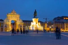 Kommersfyrkant i Lissabon på natten Fotografering för Bildbyråer