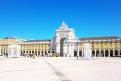 Kommersfyrkant i Lissabon Portugal Arkivbild