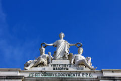 Kommersfyrkant, Lisbon, Portugal Fotografering för Bildbyråer