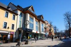 Kommersiell byggnad i Zakopane, Polen Arkivfoto