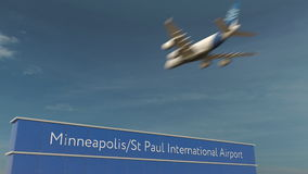 Kommersiell flygplanlandning på tolkningen för Minneapolis St Paul International Airport 3D Royaltyfria Bilder