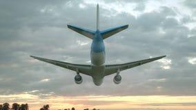 Kommersiell flygplanlandning p? solnedg?ngen illustration 3d royaltyfri illustrationer
