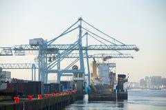 Kommersiell hamn med industriella kranar Arkivfoto