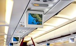 kommersiell interior för flygplan Arkivbilder