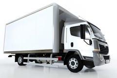 Kommersiell lastleveranslastbil med den tomma vita släpet Generisk brandless design Arkivfoto
