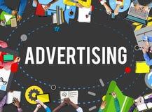 Kommersiell marknadsföring för advertizing som brännmärker begrepp royaltyfri fotografi