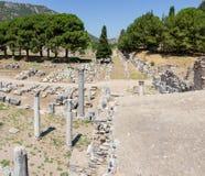 Kommersiell marknadsplats och tempel av Serapis, Ephesus, Turkiet Royaltyfri Foto