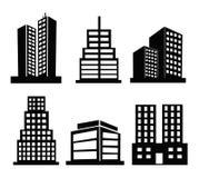 Kommersiella byggnadssymboler Arkivfoton