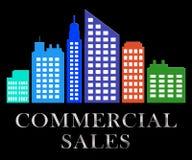 Kommersiella försäljningar beskriver den Real Estate Sale 3d illustrationen Arkivbild