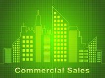 Kommersiella försäljningar föreställer illustrationen för Real Estate kontor 3d Royaltyfri Illustrationer