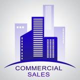 Kommersiella försäljningar som beskriver Real Estate byggnader 3d Illustratio Stock Illustrationer