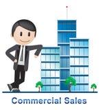 Kommersiella försäljningsbyggnader som beskriver Real Estate 3d Illustratio Arkivbilder