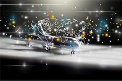 Kommersiella flygplanlinjer Royaltyfria Bilder