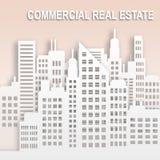 Kommersiella Real Estate föreställer kontorsegenskapen 3d Illustratio Vektor Illustrationer