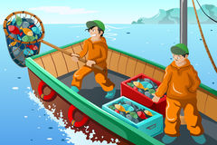 Kommersiellt fiskarefiske royaltyfri illustrationer