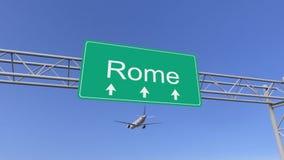 Kommersiellt flygplan för tvilling- motor som ankommer till den Rome flygplatsen Resa till Italien den begreppsmässiga tolkningen Fotografering för Bildbyråer