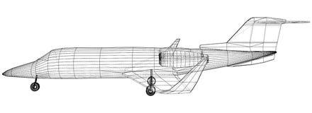 Kommersiellt flygplan Fastar lopp- och trans.begreppet Vektortråd-ram begrepp Skapad illustration av 3d vektor illustrationer
