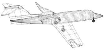 Kommersiellt flygplan Fastar lopp- och trans.begreppet Vektortråd-ram begrepp Skapad illustration av 3d royaltyfri illustrationer