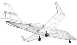 Kommersiellt flygplan Fastar lopp- och trans.begreppet Vektortråd-ram begrepp Skapad illustration av 3d stock illustrationer