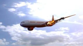 Kommersiellt flygplan med motorn p? brand, begrepp av den flyg- katastrofen illustration 3d royaltyfri illustrationer