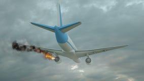 Kommersiellt flygplan med motorn p? brand, begrepp av den flyg- katastrofen illustration 3d stock illustrationer