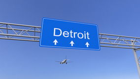 Kommersiellt flygplan som ankommer till den Detroit flygplatsen Resa till den begreppsmässiga tolkningen 3D för Förenta staterna Arkivbilder