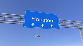 Kommersiellt flygplan som ankommer till den Houston flygplatsen Resa till den begreppsmässiga tolkningen 3D för Förenta staterna Arkivbilder