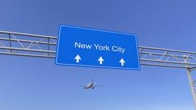 Kommersiellt flygplan som ankommer till den New York City flygplatsen Resa till den begreppsmässiga tolkningen 3D för Förenta sta Royaltyfri Fotografi