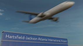 Kommersiellt flygplan som tar av på den redaktörs- tolkningen 3D Hartsfield-Jackson Atlanta för internationell flygplats arkivbilder