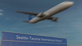 Kommersiellt flygplan som tar av på den redaktörs- tolkningen 3D Seattle-Tacoma för internationell flygplats arkivbilder