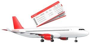 Kommersiellt flygplan, trafikflygplan med två logipasserande Passagerarenivå med en röd svansvinge tolkning 3D på vektor illustrationer