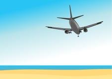 Kommersiellt flygplanflyg ovanför det tropiska havet royaltyfri illustrationer