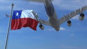 Kommersiellt flygplanflyg ovanför vinkande flagga av Chile framförande 3d stock illustrationer
