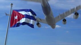 Kommersiellt flygplanflyg ovanför vinkande flagga av Kuban framförande 3d vektor illustrationer