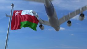 Kommersiellt flygplanflyg ovanför vinkande flagga av Oman framförande 3d stock illustrationer