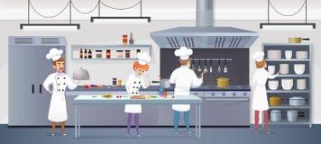 Kommersiellt kök med kocken för tecknad filmtecken vektor illustrationer