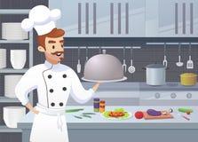 Kommersiellt kök med kocken för tecknad filmtecken royaltyfri illustrationer
