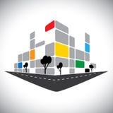 Kommersiellt kontorshöghus vektor illustrationer