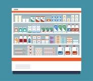 Kommersiellt kylskåp mycket av mejeriprodukter Isolerat på blåttbakgrund vektor illustrationer