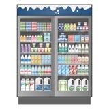 Kommersiellt kylskåp mycket av olika mejeriprodukter med pris stock illustrationer