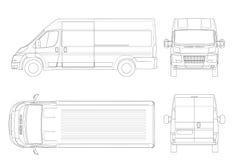 Kommersiellt medel eller logistisk bilöversikt Lastminivan som isoleras på vit bakgrund Beskåda framdelen, baksidan, sidan, överk vektor illustrationer