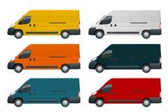 Kommersiellt medel eller logistisk bil Lastminivan på vit ändring för bakgrundssidosikt färgen i en klick stock illustrationer