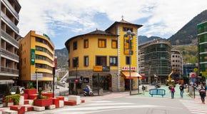 Kommersiellt område i Andorra la Vella Arkivbilder